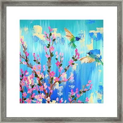 Aqua And Pink Framed Print by Cathy Jacobs