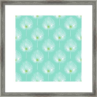 Aqua And White Palm Leaves- Art By Linda Woods Framed Print