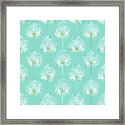 Aqua And White Palm Leaves- Art By Linda Woods Framed Print