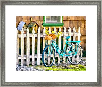 Aqua Antique Bicycle Along Fence Framed Print