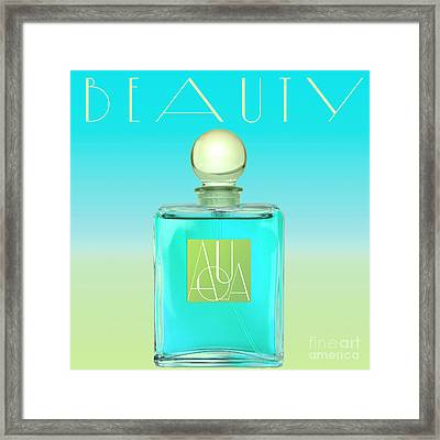 Aqua Art Deco Perfume Bottle Framed Print by Mindy Sommers