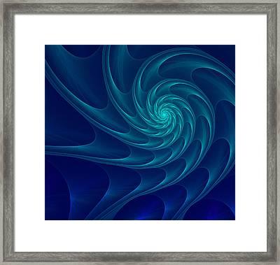Aqua Blue Nautilus Sea Shell Framed Print by Anna Bliokh