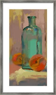 Aqua Bottle Framed Print by Donna Shortt