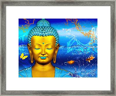 Aqua Buddha Framed Print by Khalil Houri