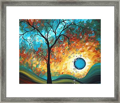 Aqua Burn By Madart Framed Print by Megan Duncanson