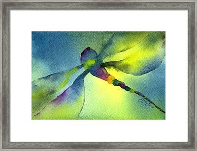 Aqua Dragonfly Framed Print by Gladys Folkers