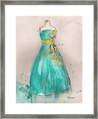 Aqua Dress Framed Print by Lauren Maurer