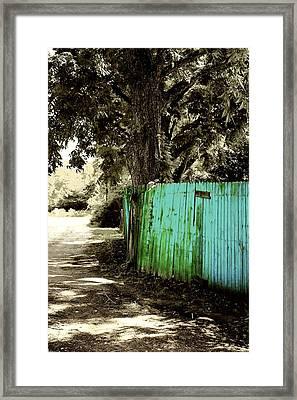 Aqua Fence Framed Print by Jill Tennison