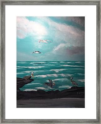 Aqua Marine Seaside Framed Print by Terry Tuley