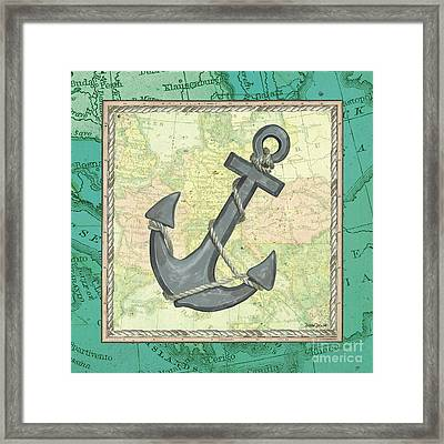Aqua Maritime Anchor Framed Print