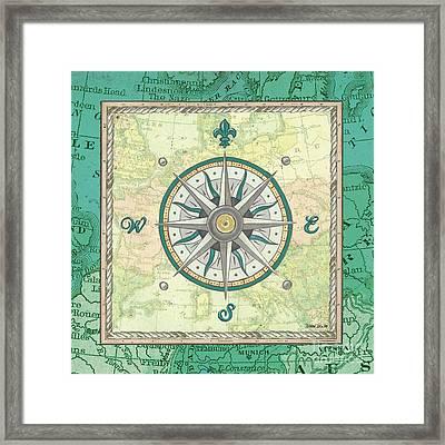 Aqua Maritime Compass Framed Print by Debbie DeWitt