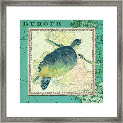 Aqua Maritime Sea Turtle Framed Print