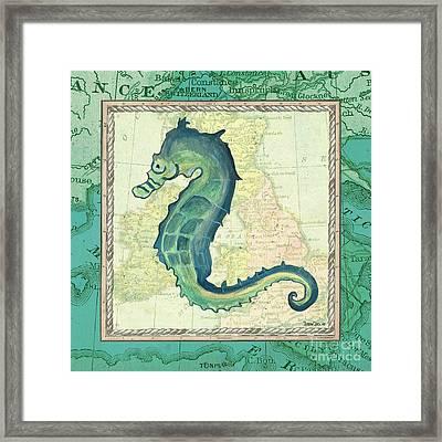 Aqua Maritime Seahorse Framed Print