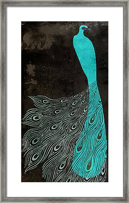 Aqua Peacock Art Nouveau Framed Print by Mindy Sommers