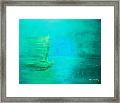 Aqua Sail Framed Print by Ken Figurski