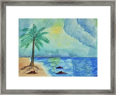 Aqua Sky Ocean Scene Framed Print