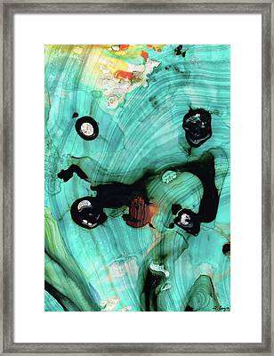 Aqua Teal Art - Volley - Sharon Cummings Framed Print by Sharon Cummings