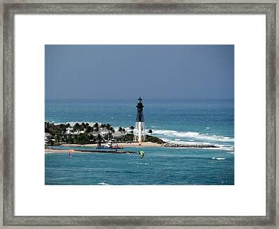 Aqua Water At The Lighthouse Framed Print