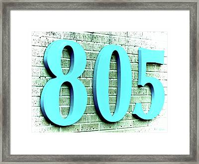 Aquamarine Blue 805 On Brick Framed Print by Tony Grider