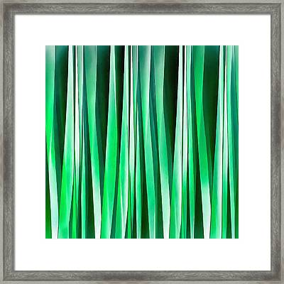 Aquamarine Ocean Stripy Pattern Framed Print