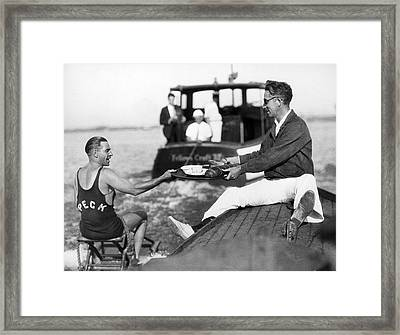 Aquaplane Record Attempt Framed Print by Underwood Archives