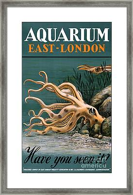 Aquarium Octopus Vintage Poster Restored Framed Print