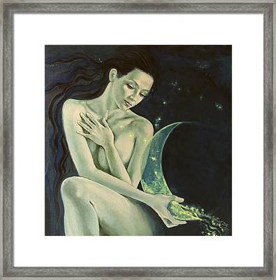 Aquarius From  Zodiac Signs Series Framed Print by Dorina  Costras