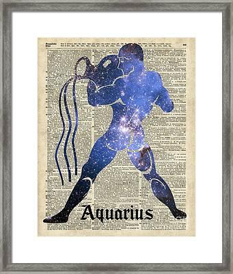 Aquarius The Water-bearer - Zodiac Sign Framed Print by Jacob Kuch