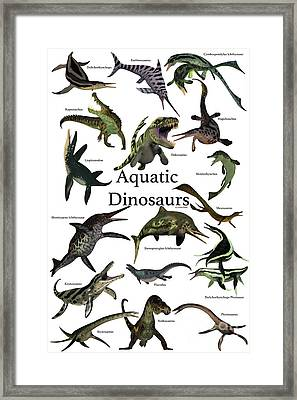 Aquatic Dinosaurs Framed Print by Corey Ford