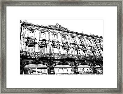 Aquitaine Art Nouveau Windows Bw Framed Print