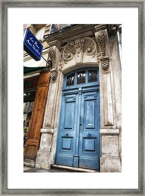 Aquitaine Blue Door Framed Print