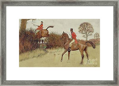 Ar Never Gets Off - Hunting Scene Framed Print by Cecil Charles Windsor Aldin