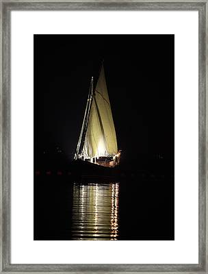 Arab Dhow At Night Framed Print