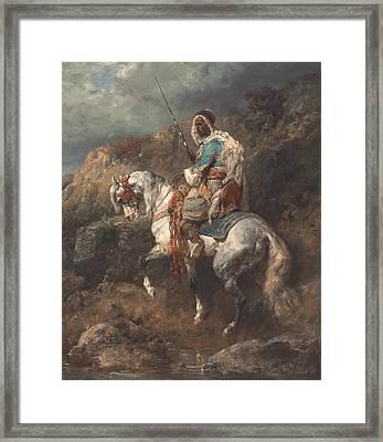 Arab Horseman Framed Print by Adolf Schreyer