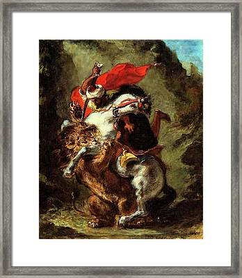 Framed Print featuring the painting Arab Horseman Attacked By A Lion by Eugene Delacroix