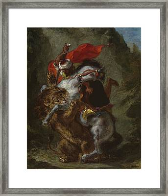 Arab Horseman Attacked By A Lion Framed Print