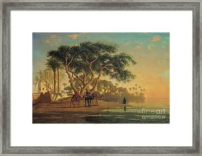 Arab Oasis Framed Print by Narcisse Berchere