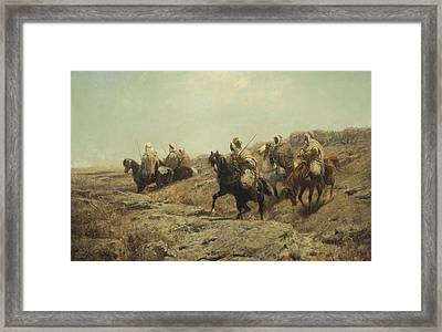 Arab Warriors On The Lookout Framed Print