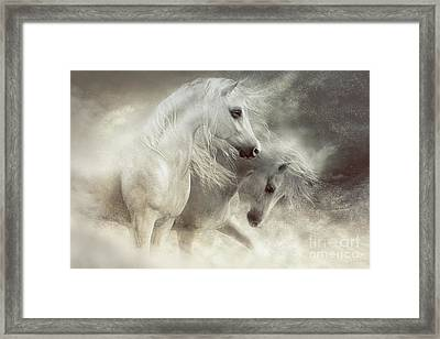 Framed Print featuring the digital art Arabian Horses Sandstorm by Shanina Conway