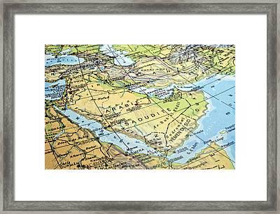Arabian Peninsula Map. Framed Print by Fernando Barozza
