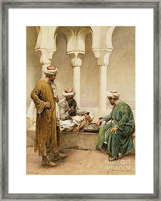 Arabs Playing Chess Framed Print by Gustavo Simoni