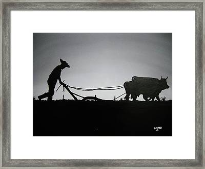 Framed Print featuring the painting Arando Con Bueyes by Edwin Alverio