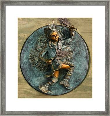 Framed Print featuring the relief Arapaho Dancer From Snowy Range Life  by Dawn Senior-Trask