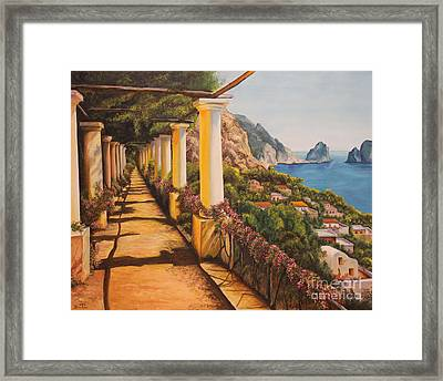 Arbor Walk In Capri Framed Print by Charlotte Blanchard