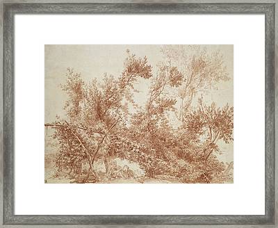 Arbor With Two Children Framed Print by Jean-Honore Fragonard