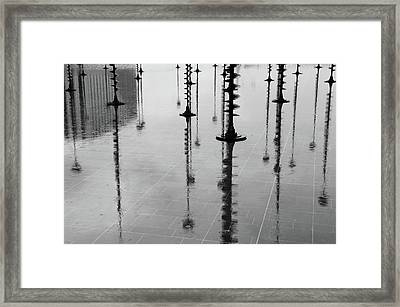 Arbres Lumineux In The Rain Paris  Framed Print