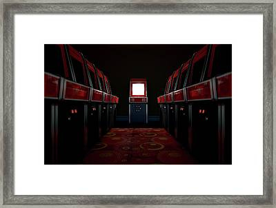 Arcade Aisle With One Illuminated  Framed Print by Allan Swart