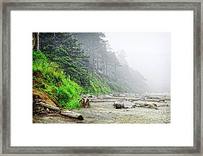 Arcadia Beach In Morning Fog Framed Print by Lincoln Rogers