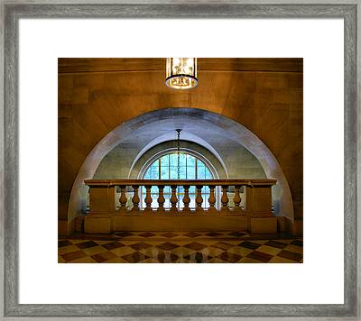 Arch And Stone Railing Framed Print by Steven Ainsworth