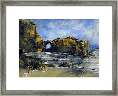 Arch At Pearl Beach Over Cast Framed Print by Randy Sprout